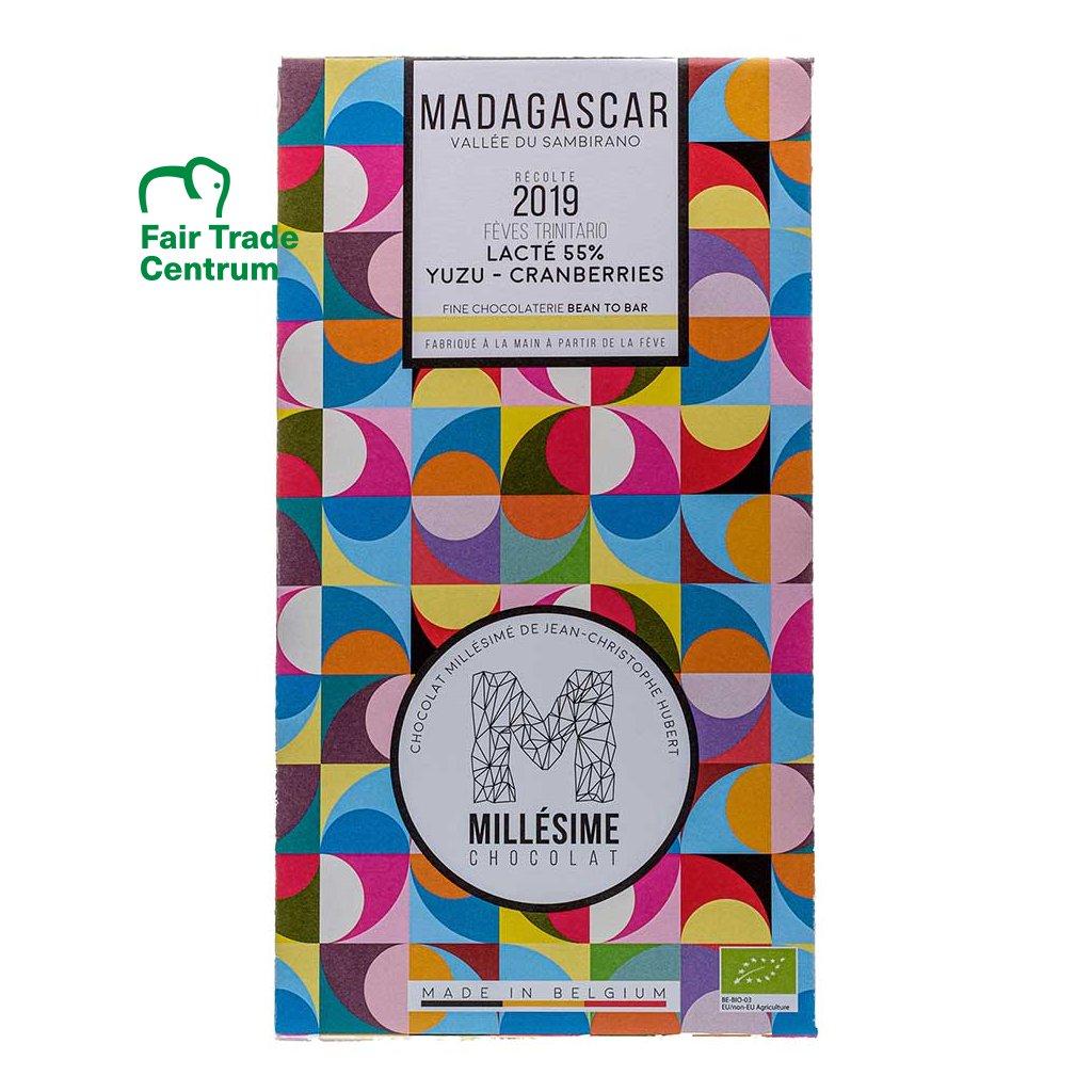Řemeslná fair trade bio mléčná čokoláda s yuzu a brusinkami Madagaskar 55 %, 70 g