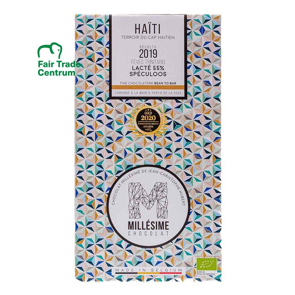Řemeslná fair trade bio mléčná čokoláda se sušenkami speculoos Haiti 55 %, 70 g