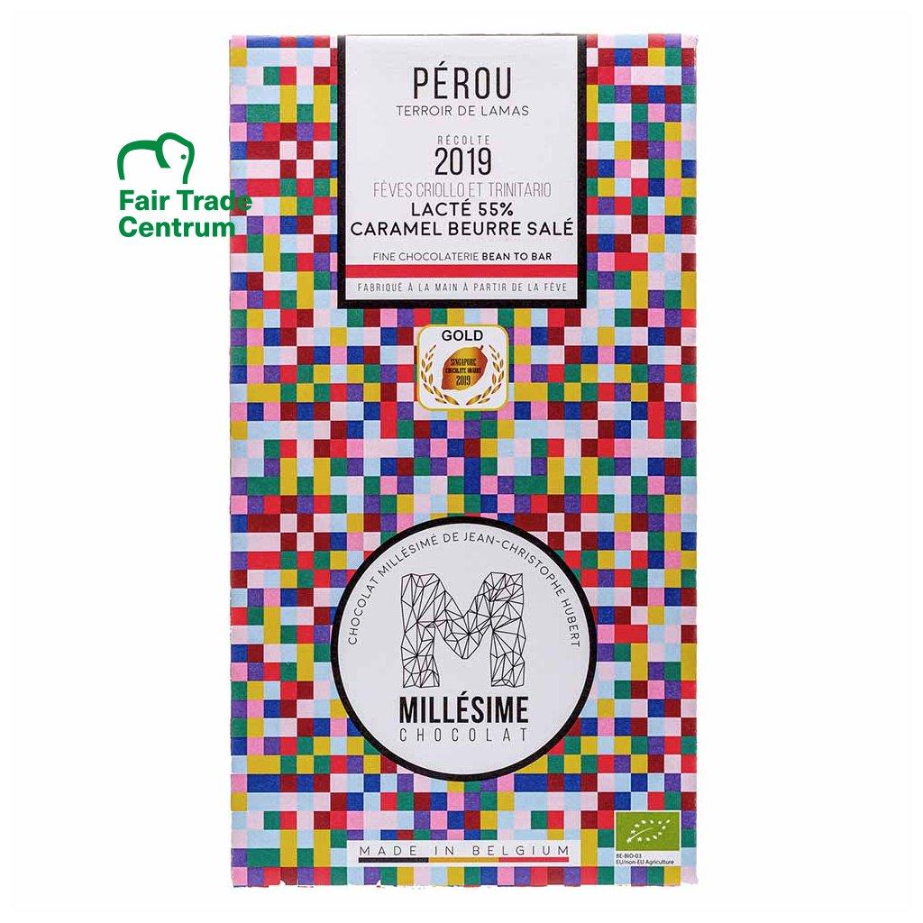 Řemeslná fair trade bio mléčná čokoláda Millesime Chocolat s máslovým karamelem Peru 55 %, 70 g