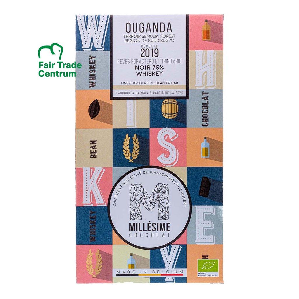 Řemeslná fair trade bio hořká čokoláda Millésime Chocolat s whisky Uganda 75 % kakaa