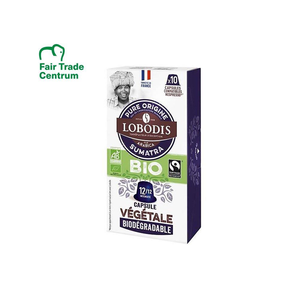 Fair trade kompostovatelné bio kávové kapsle Sumatra Mandheling Lobodis s nulovým odpadem, 10 ks, Nespresso