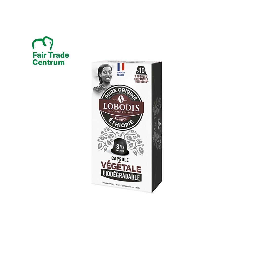 Fair trade kompostovatelné kávové kapsle Etiopia Lobodis s nulovým odpadem, 10 ks, Nespresso