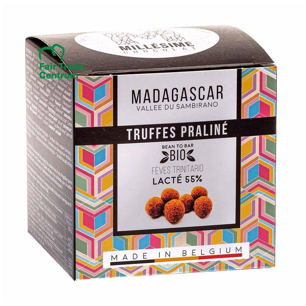 Ručně dělané fair trade bio lanýžové pralinky z mléčné čokolády Madagaskar 55 % Millésime Chocolat