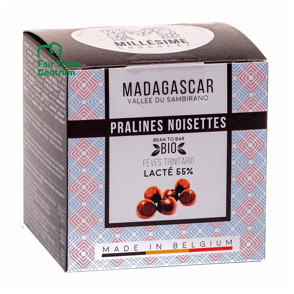 Ručně dělané fair trade bio belgické pralinky z mléčné čokolády Madagaskar 55 % Millésime Chocolat