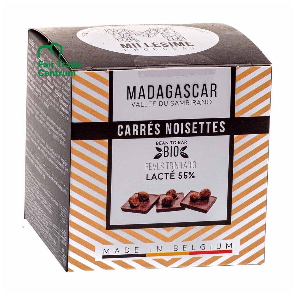 Ručně dělané fair trade bio mléčné napolitánky s lískovými ořechy Madagaskar 55 %, 75 g