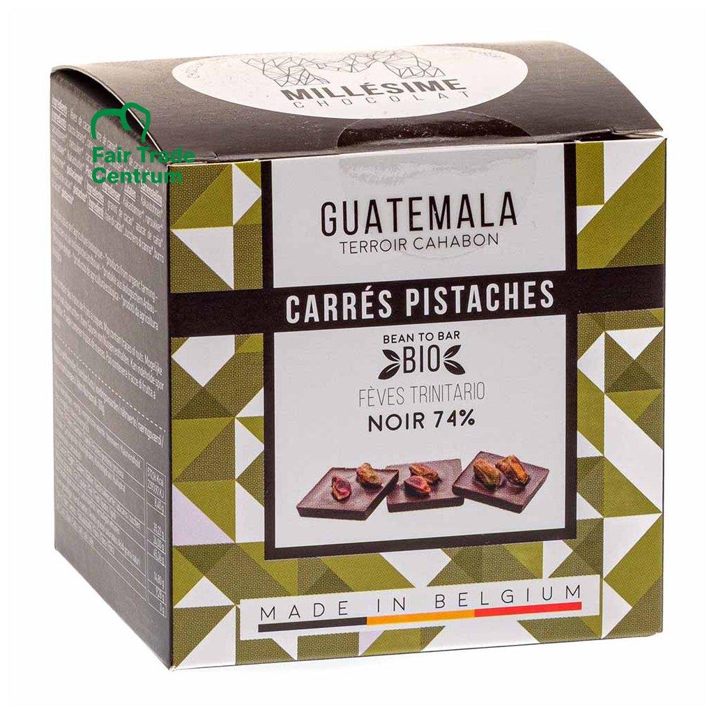 Ručně dělané fair trade bio hořké napolitánky s pistáciemi Guatemala 74 %, 75 g