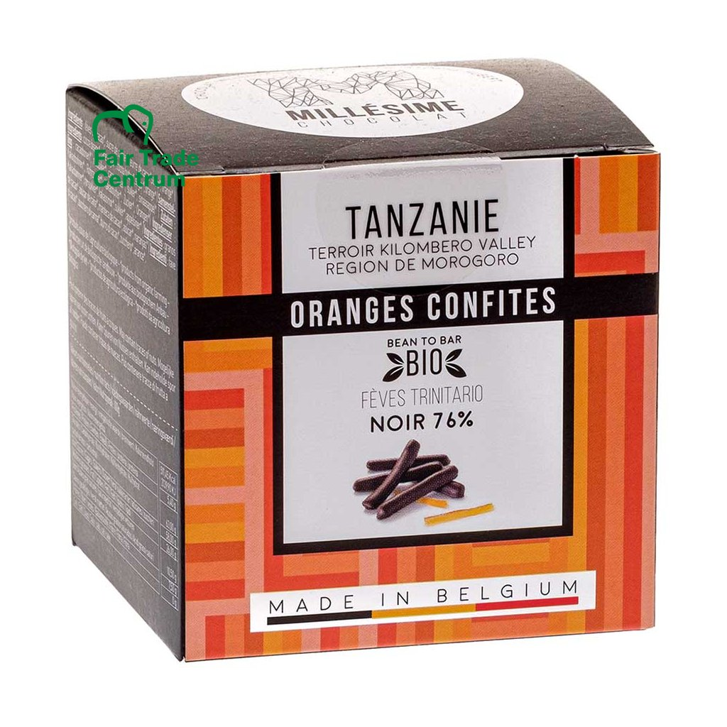 Ručně obalované bio kandované pomeranče ve fair trade hořké čokoládě Tanzanie 76 %, 75 g