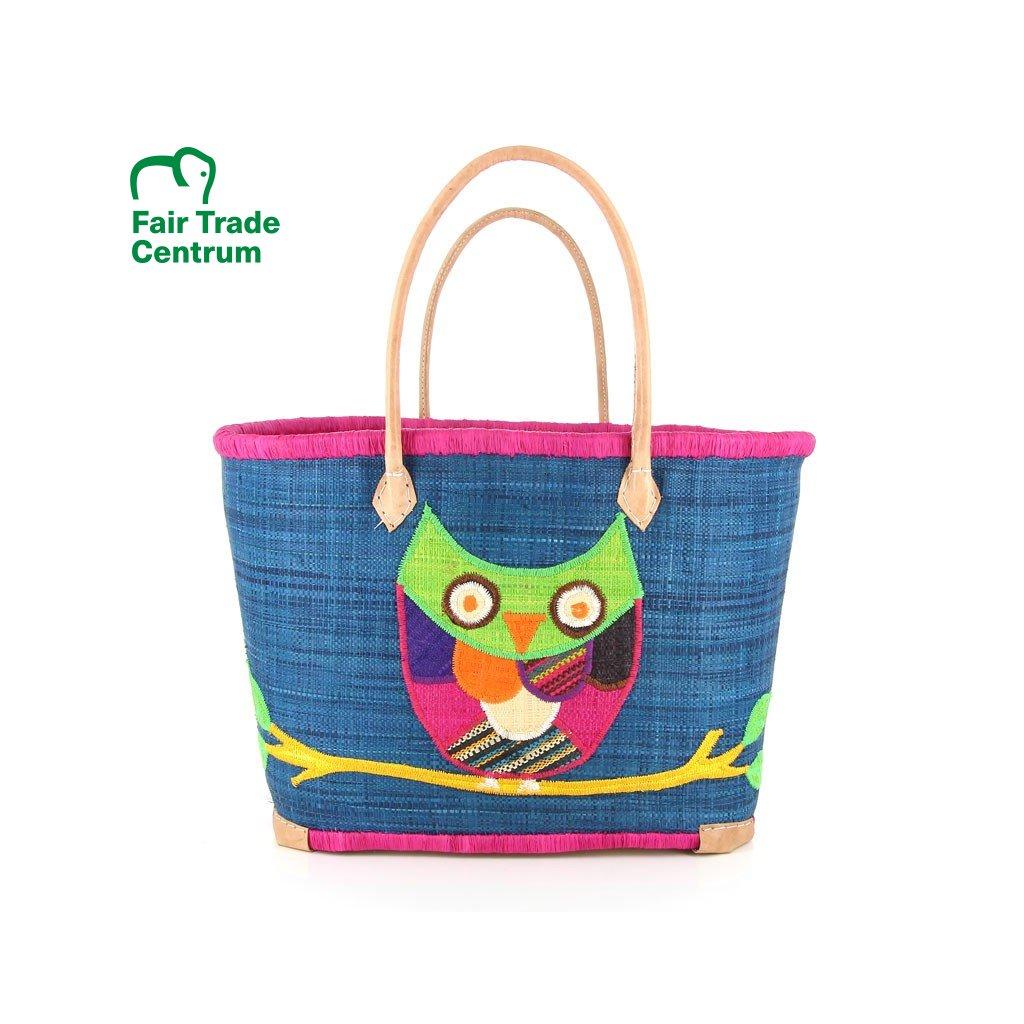 Fair trade pletená taška se sovou z palmového listí z Madagaskaru