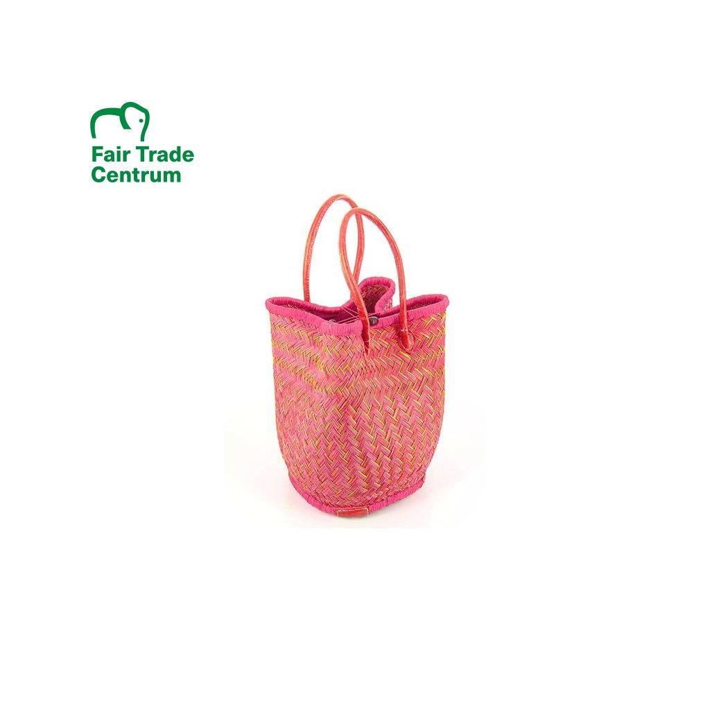 Fair trade stahovací taška z trávy juncus z Madagaskaru, fuchsiová