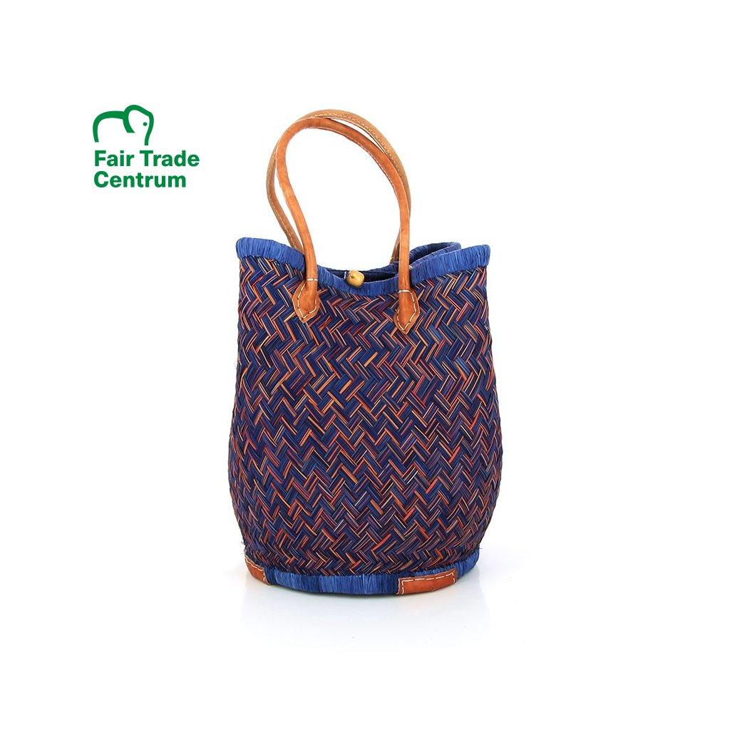 Fair trade stahovací taška z trávy juncus z Madagaskaru, tyrkysová