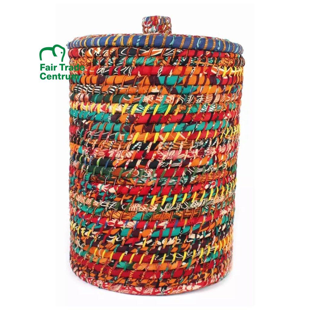 Koš na prádlo ze sárí z Bangladéše vícebarevný, 40 cm