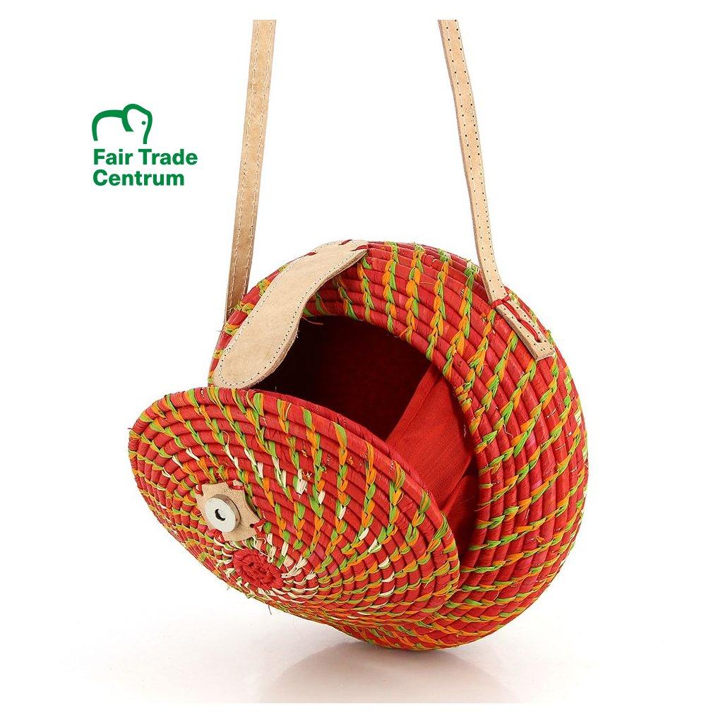 Fair trade kulatá kabelka ručně vyrobená z palmového listí na Madagaskaru, červená