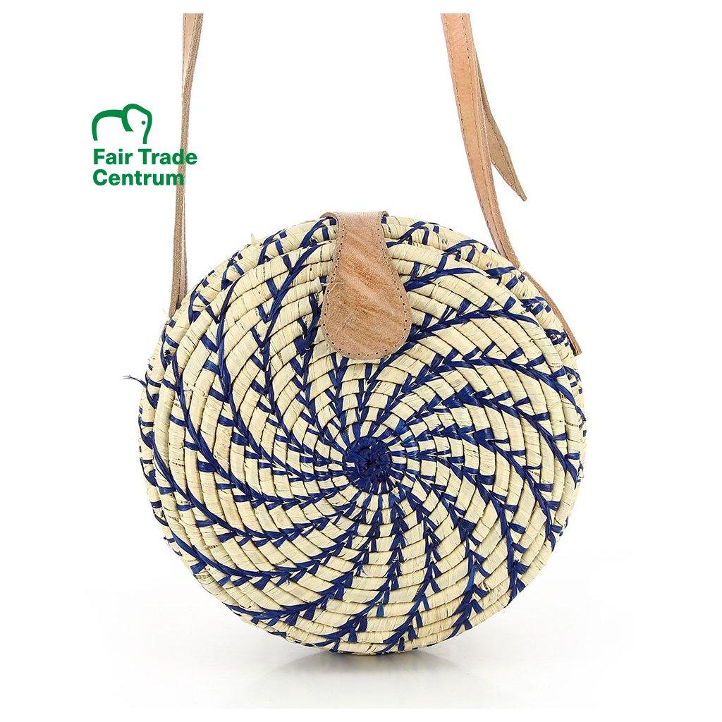 Fair trade kulatá kabelka z palmového listí z Madagaskaru, přírodní a modrá