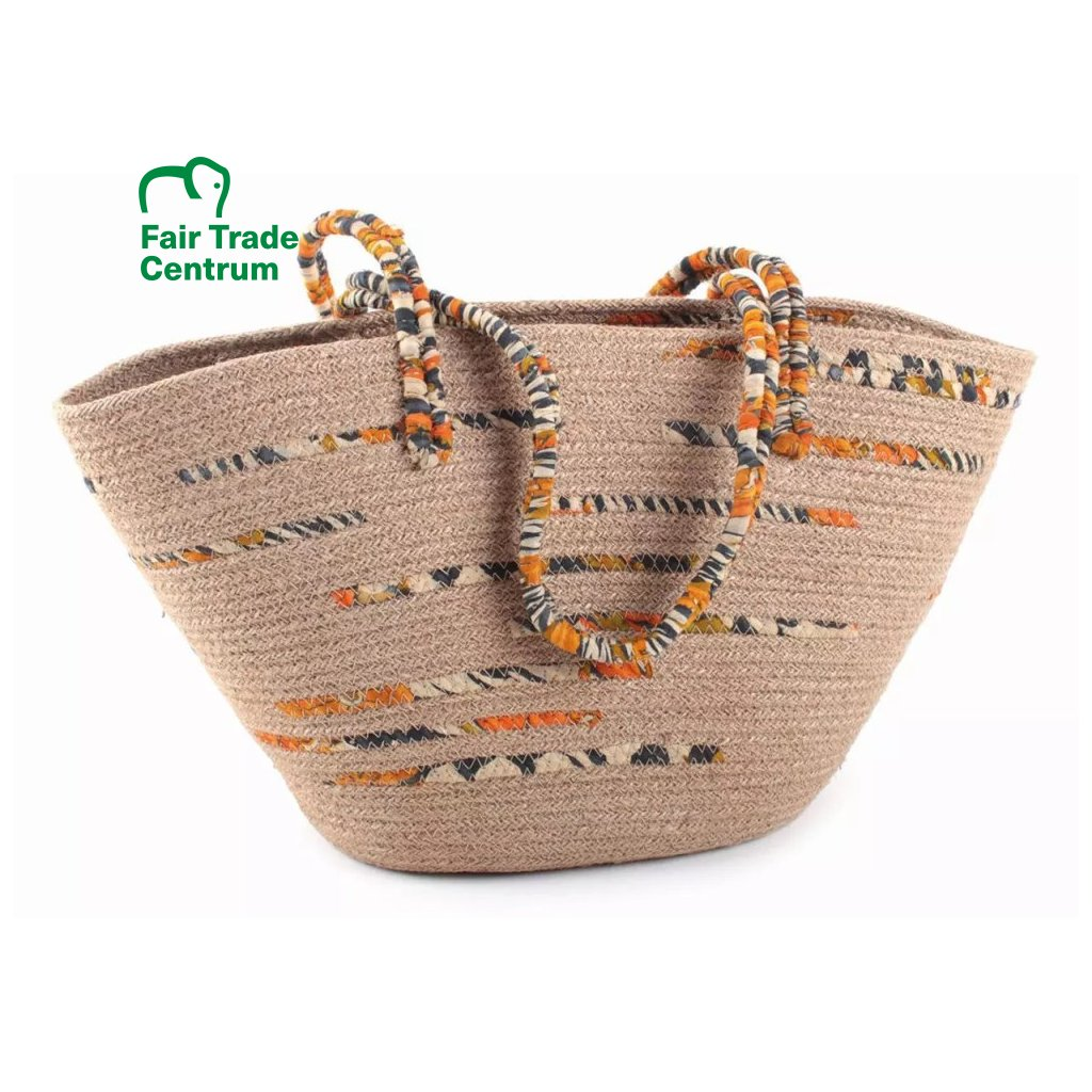 Fair trade nákupní taška přes rameno z juty a sárí z Bangladéše