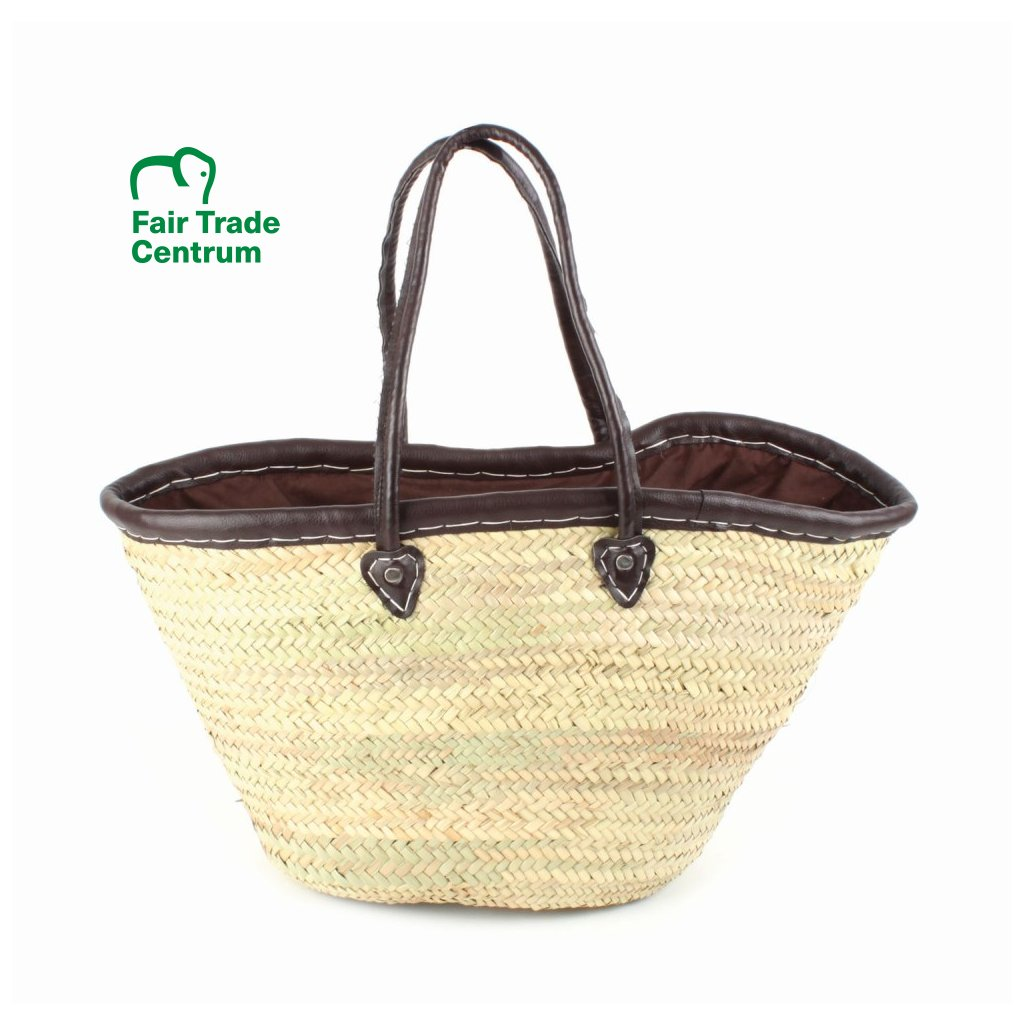 Fair trade nákupní taška z palmového listí s bavlněnou vložkou z Maroka