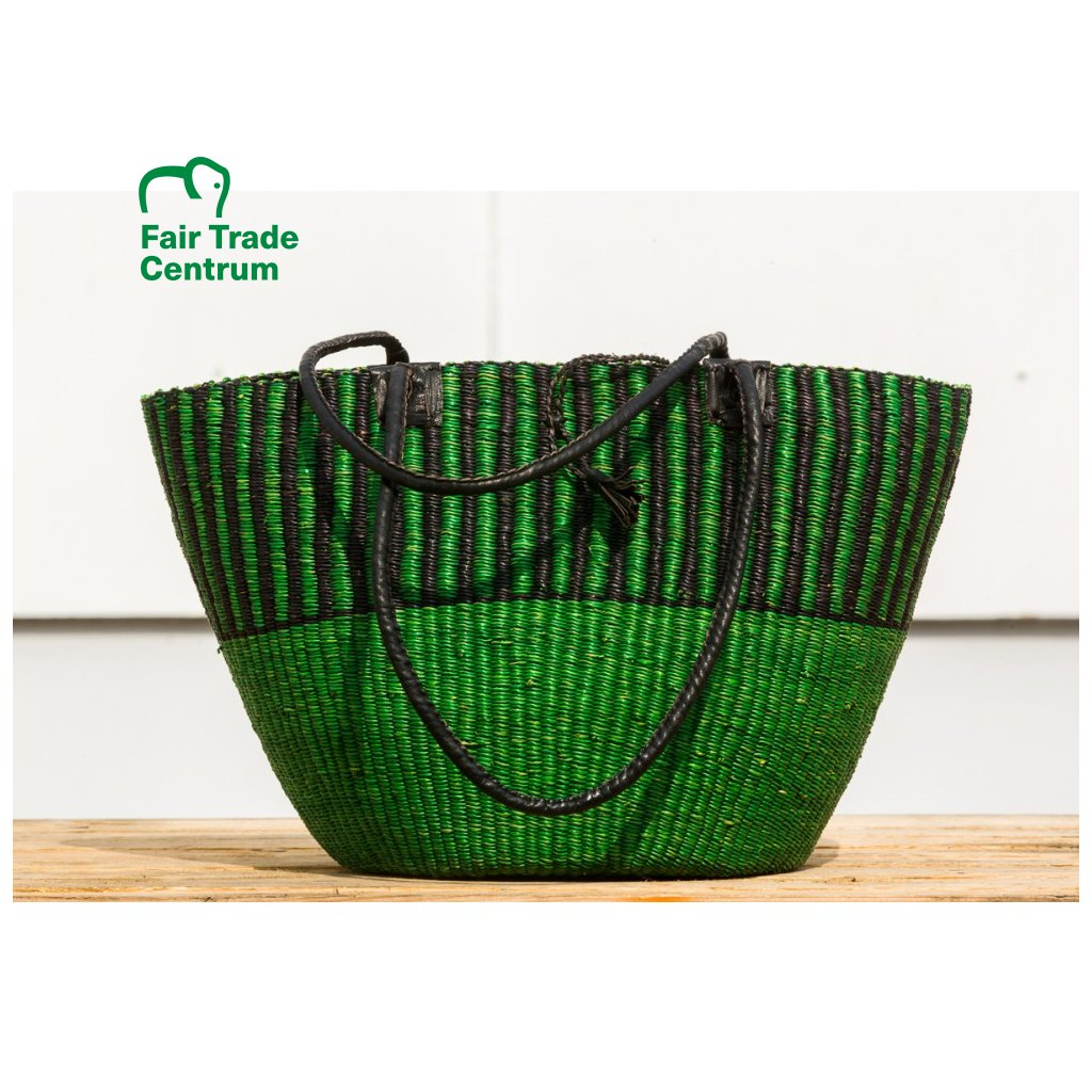 Fair trade bolga taška přes rameno premium z Ghany, zelená