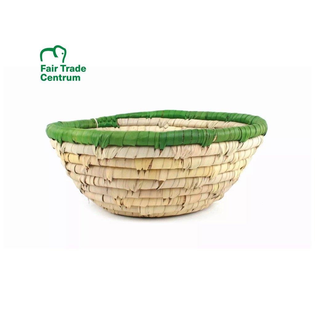 Fair trade ošatka z listů datlové palmy se zeleným okrajem z Bangladéše, 25 cm