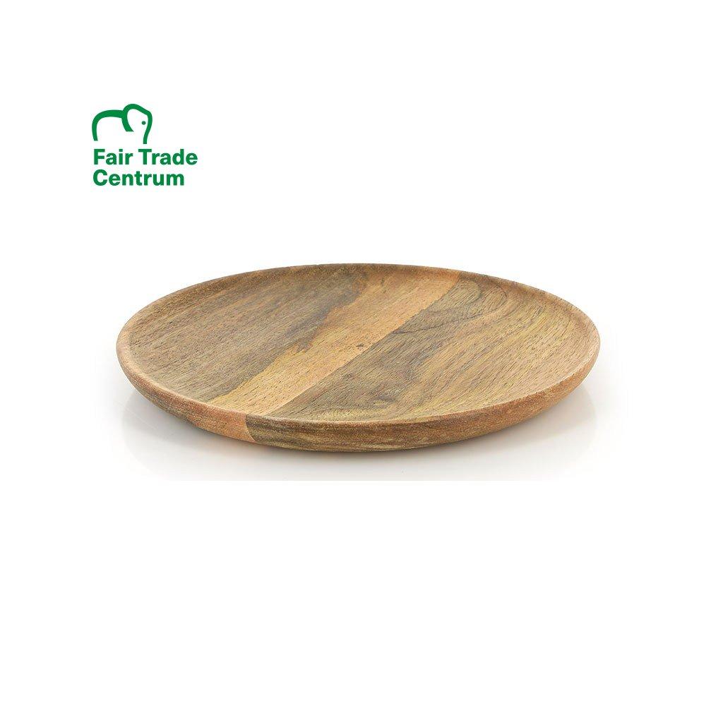 Fair trade talíř ručně vyrobený z mangovníku v Indii, 20 cm