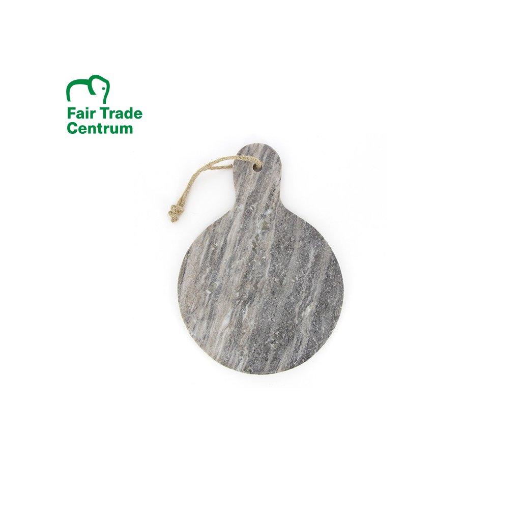 Fair trade servírovací a krájecí kulaté mramorové prkénko z Indie, 41 cm