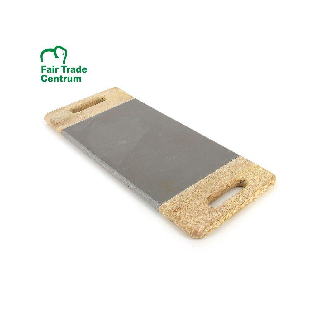Fair trade servírovací a krájecí deska z pískovce a dřeva z Indie, 40 cm