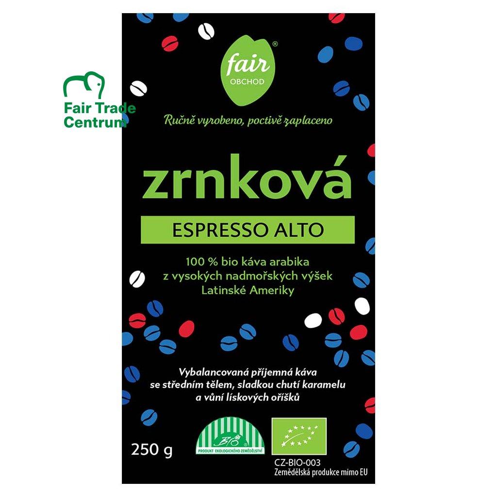 Fair trade bio zrnková káva Espresso Alto