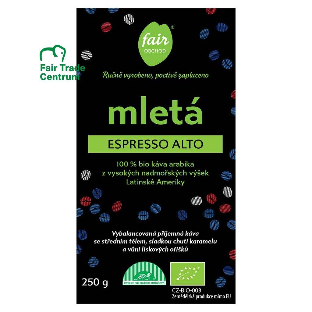 Fair trade bio mletá káva Espresso Alto