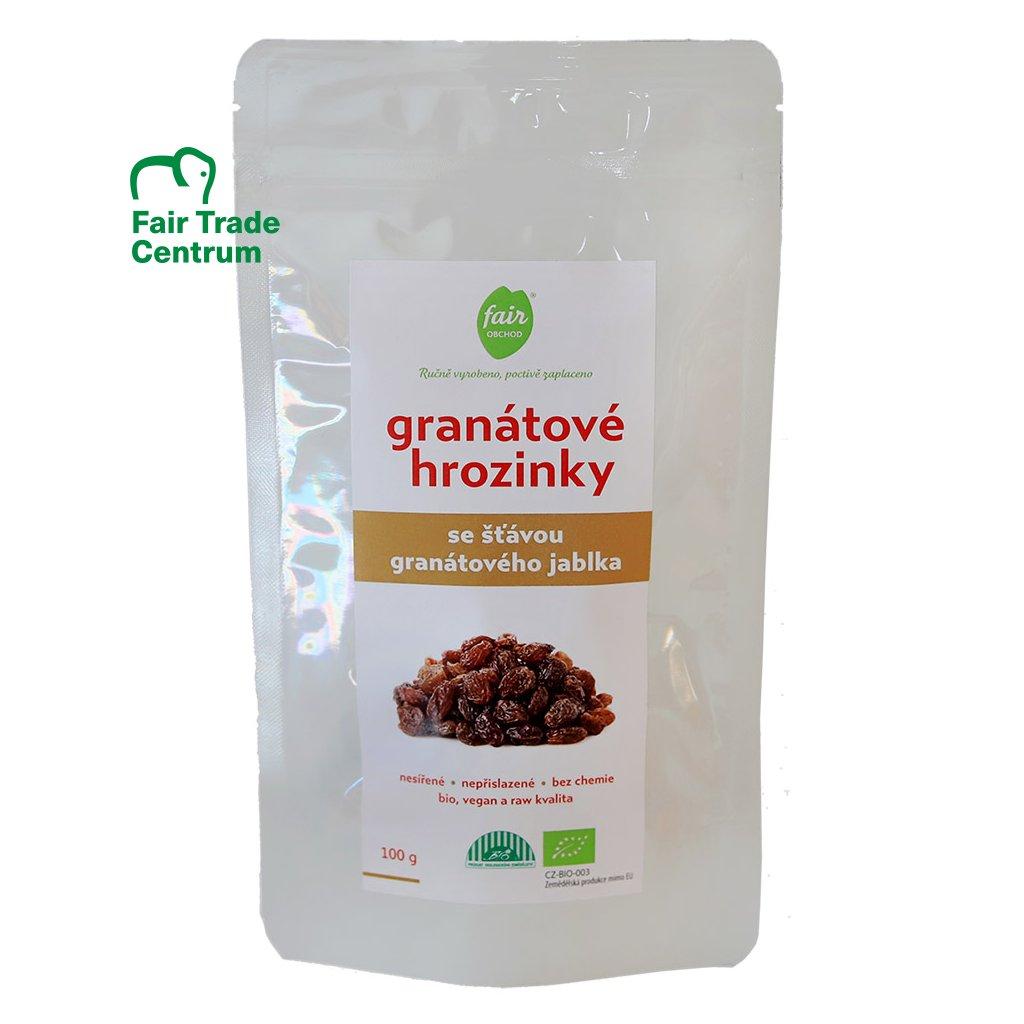 Fair trade bio granátové hrozinky z Uzbekistánu, 100 g