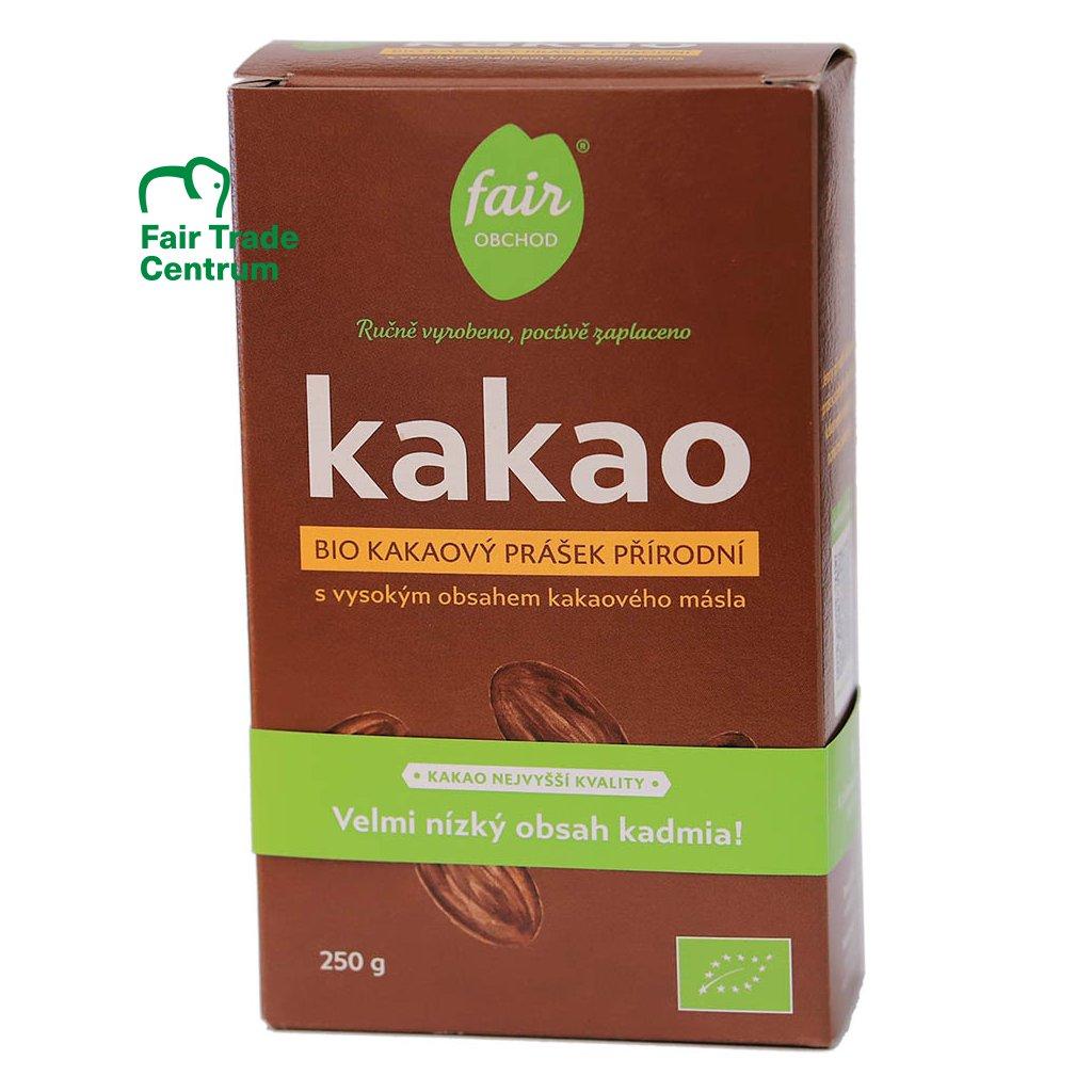 Fair trade bio kakaový prášek plnotučný přírodní z Dominikánské republiky, nízký obsah kadmia, 250 g