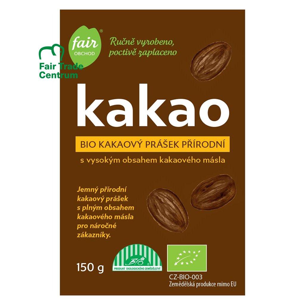 Fair trade bio kakaový prášek plnotučný přírodní z Dominikánské republiky, 150 g