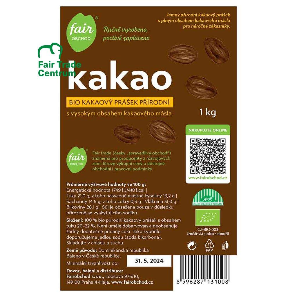Fair trade bio kakaový prášek plnotučný přírodní z Dominikánské republiky, 1 kg