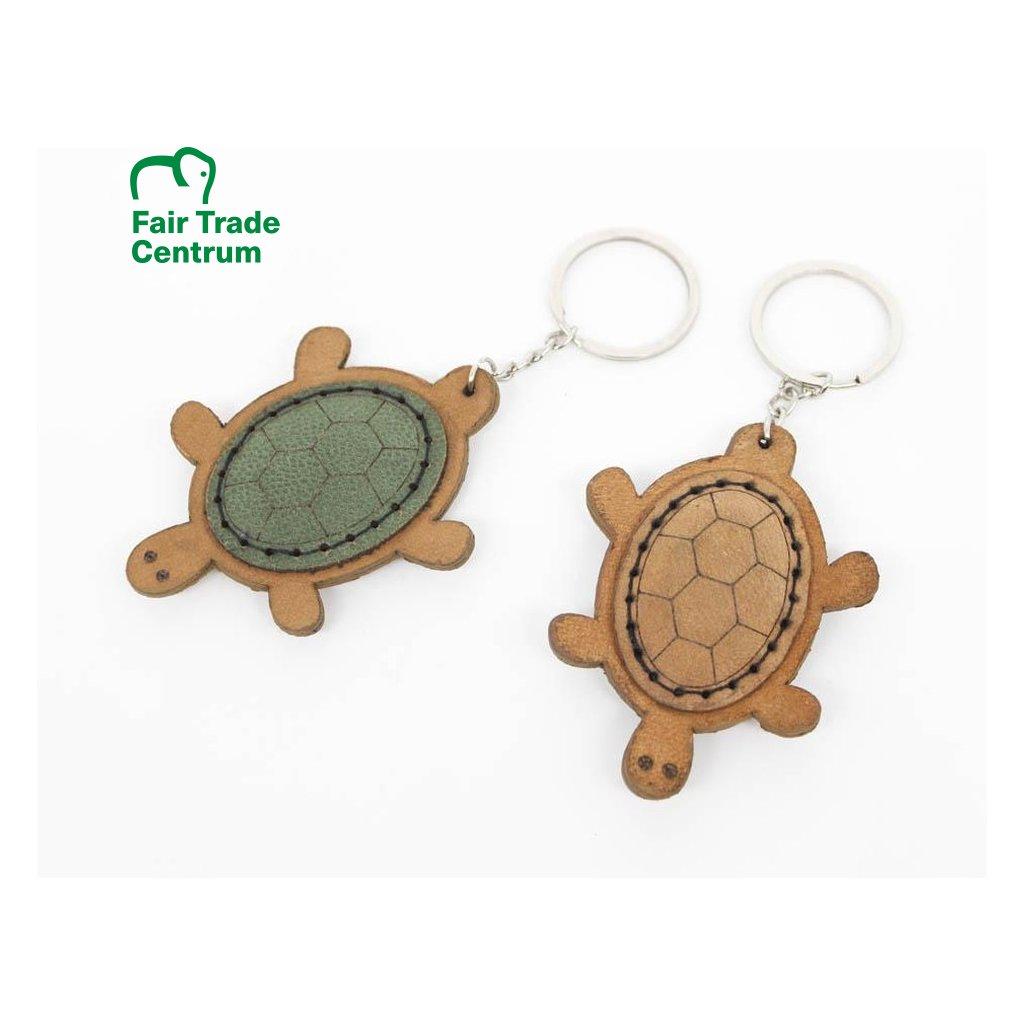 Fair trade kožený přívěšek na klíče Želva z Bangladéše