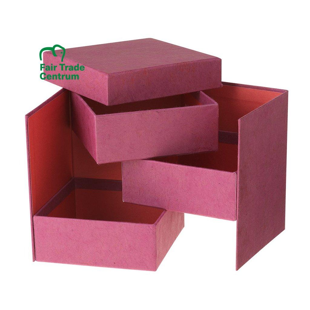 Fair trade rozkládací krabička na šperky s 3 přihrádkami z Nepálu, recyklovaný papír