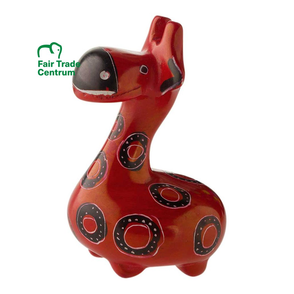 Fair trade veselá žirafa z mastku z Keni, 5 cm