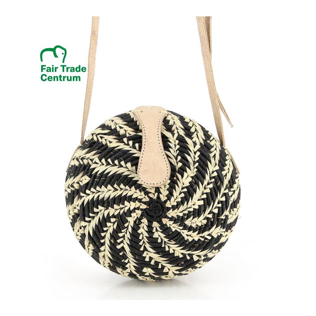 Fair trade kulatá kabelka z palmového listí z Madagaskaru, antracitová