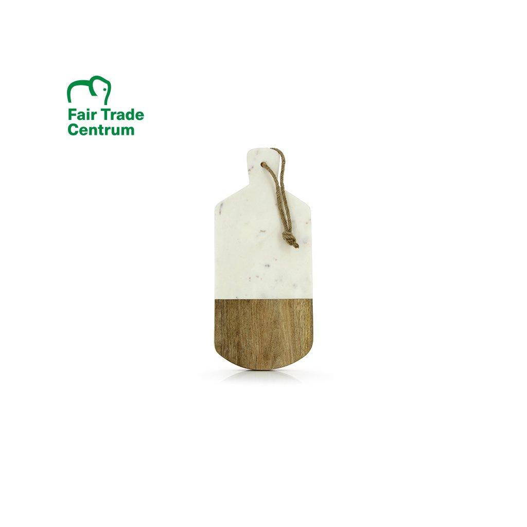 Fair trade servírovací a krájecí deska z mramoru a dřeva mangovníku z Indie, 40 cm