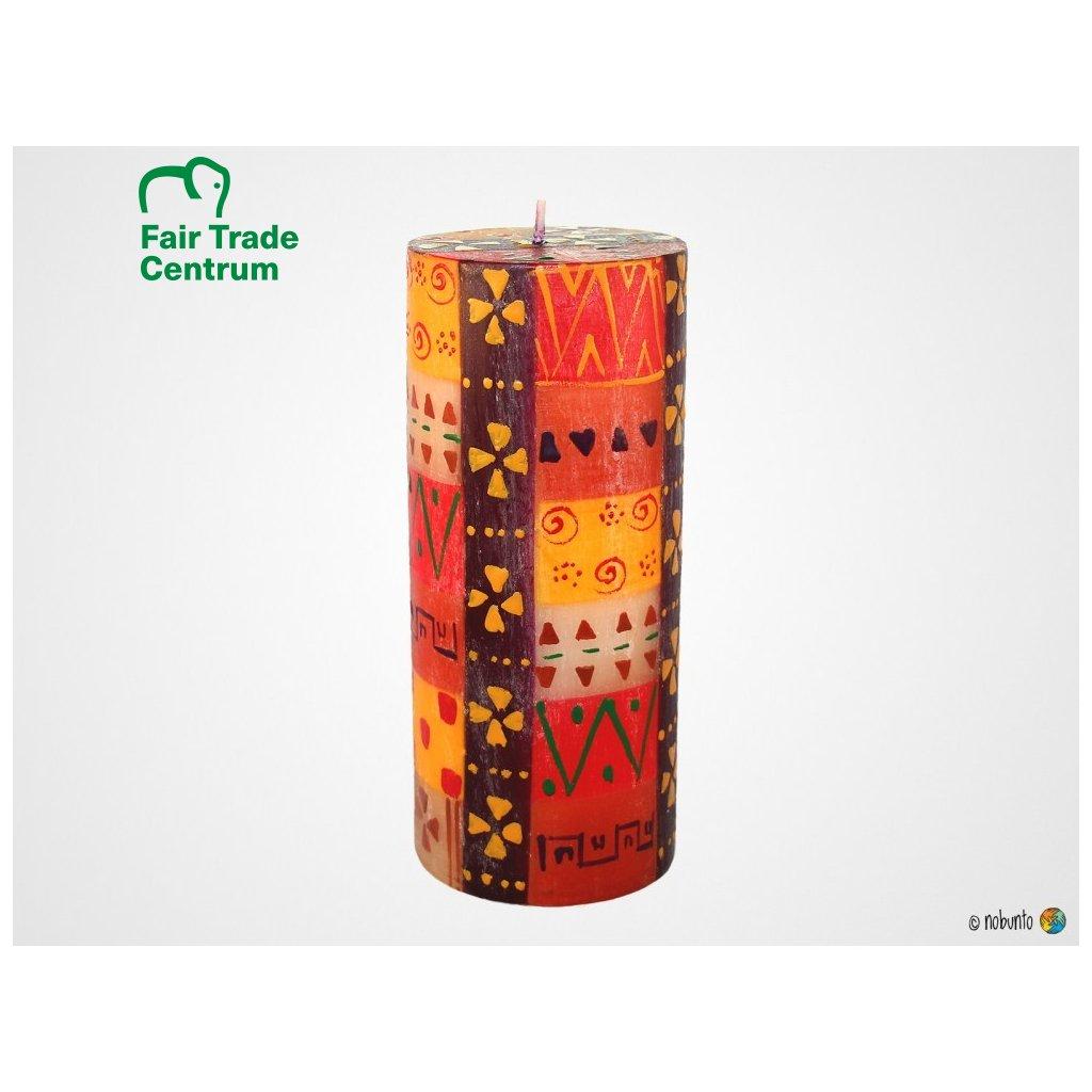 Nobunto Fair trade sloupová svíčka Indabuko z Jižní Afriky, 8x20 cm