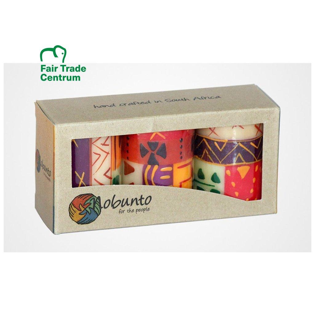 Nobunto fair trade dárková sada 3 pilířové svíčky Indabuko z JAR, 5 x 7 cm