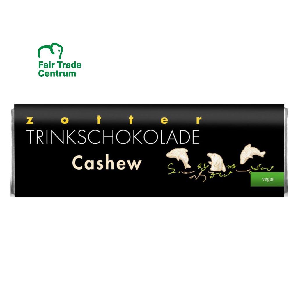 Fair trade bio horká vegan čokoláda na pití Zotter s kešu a datlovým cukrem, 22 g