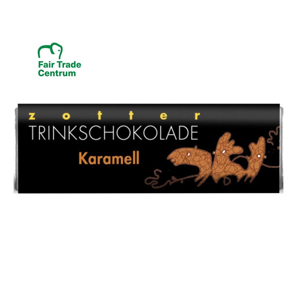 Fair trade bio horká mléčná čokoláda Zotter s karamelem, 22 g