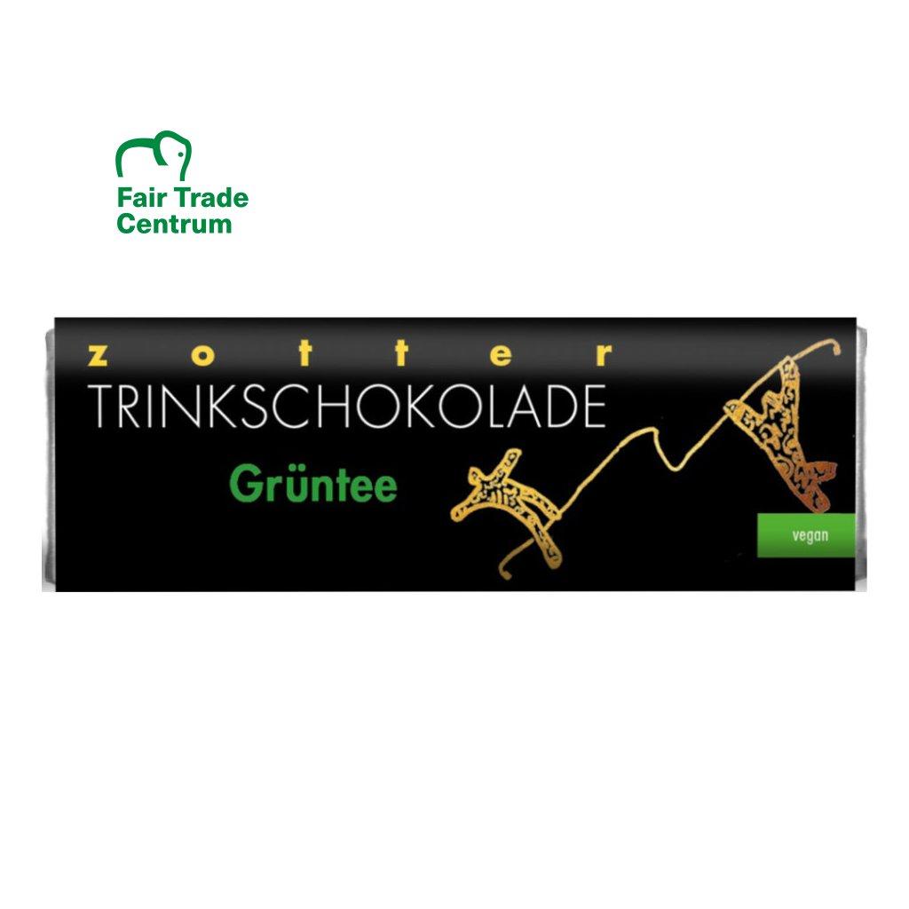 Fair trade bio horká vegan čokoláda Zotter s čajem matcha, 22 g