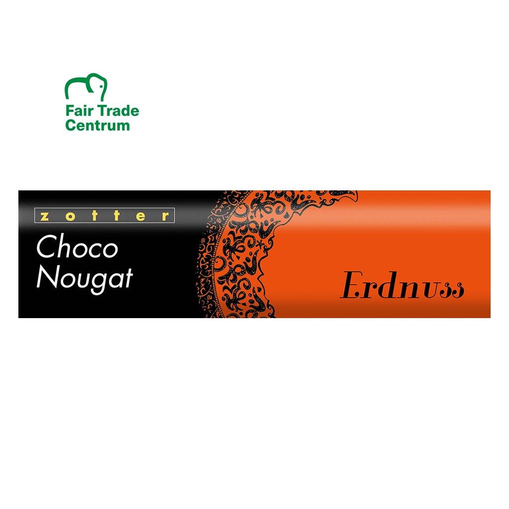 Fair trade bio čokoládový nugát Zotter s arašídy, 130 g