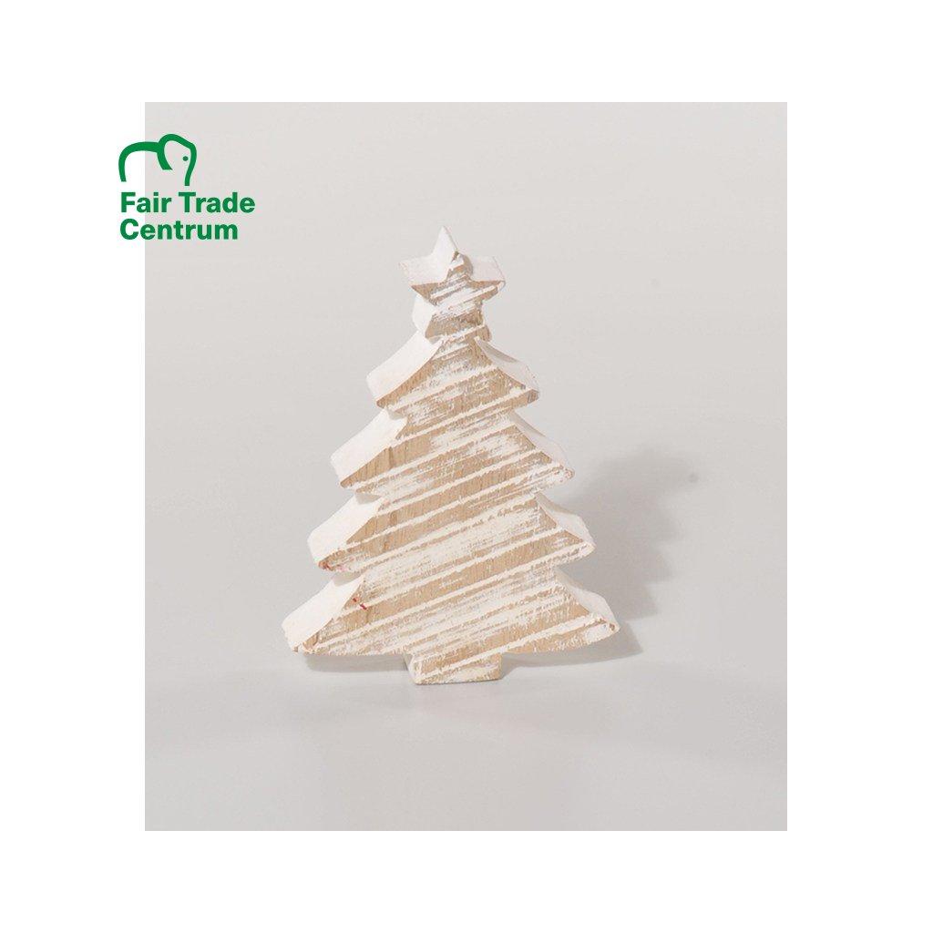 Fair trade vánoční stromek z mangového dřeva s patinou z Indie, 20 cm