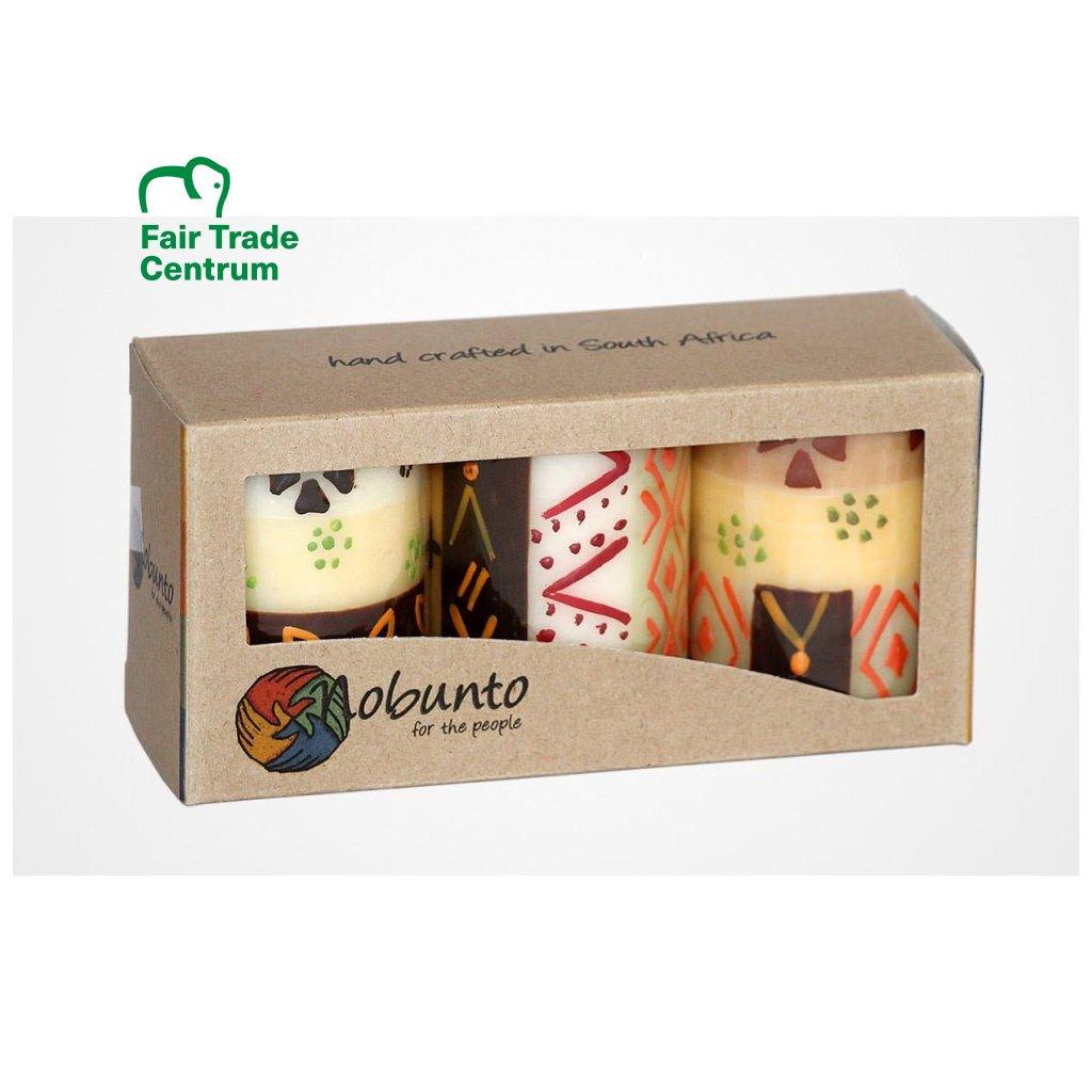 Nobunto fair trade dárková sada 3 pilířové svíčky Akono z Jihoafrické republiky, 5 x 7 cm