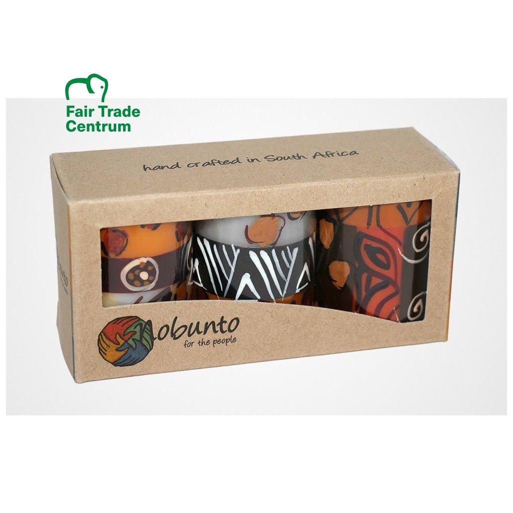 Nobunto fair trade dárková sada 3 pilířové svíčky Uzima z Jihoafrické republiky, 5 x 7 cm