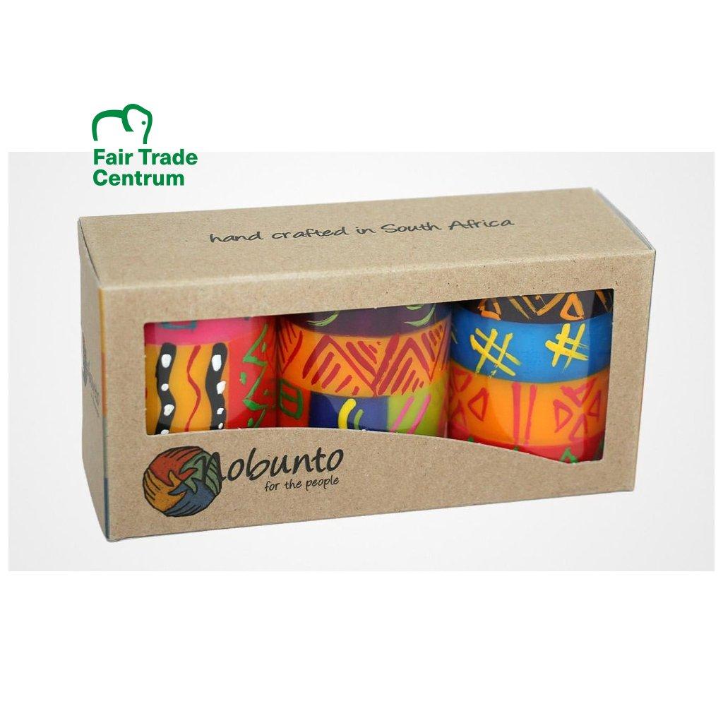 Nobunto fair trade dárková sada 3 pilířové svíčky Shahida z Jihoafrické republiky, 5 x 7 cm