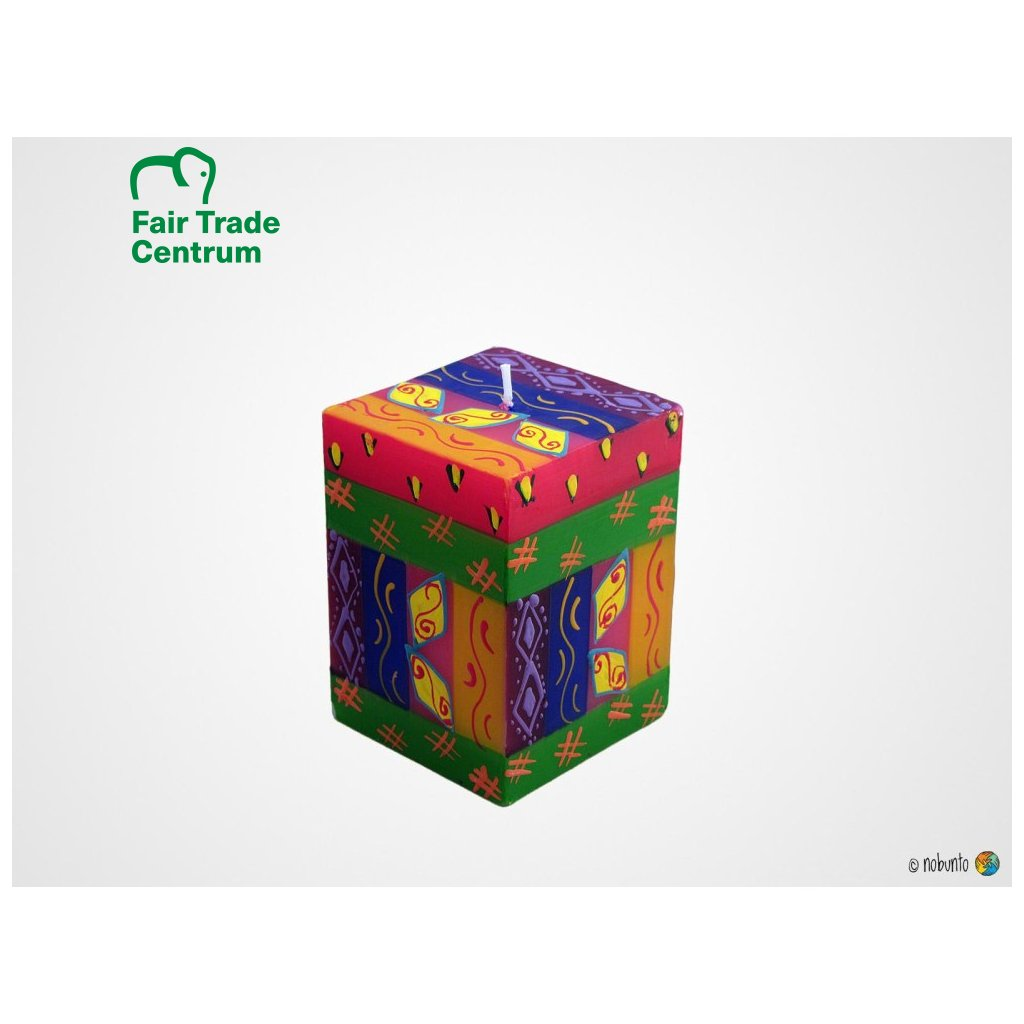 Nobunto Fair trade hranatá svíčka Shahida z Jihoafrické republiky, 7 x 10 cm