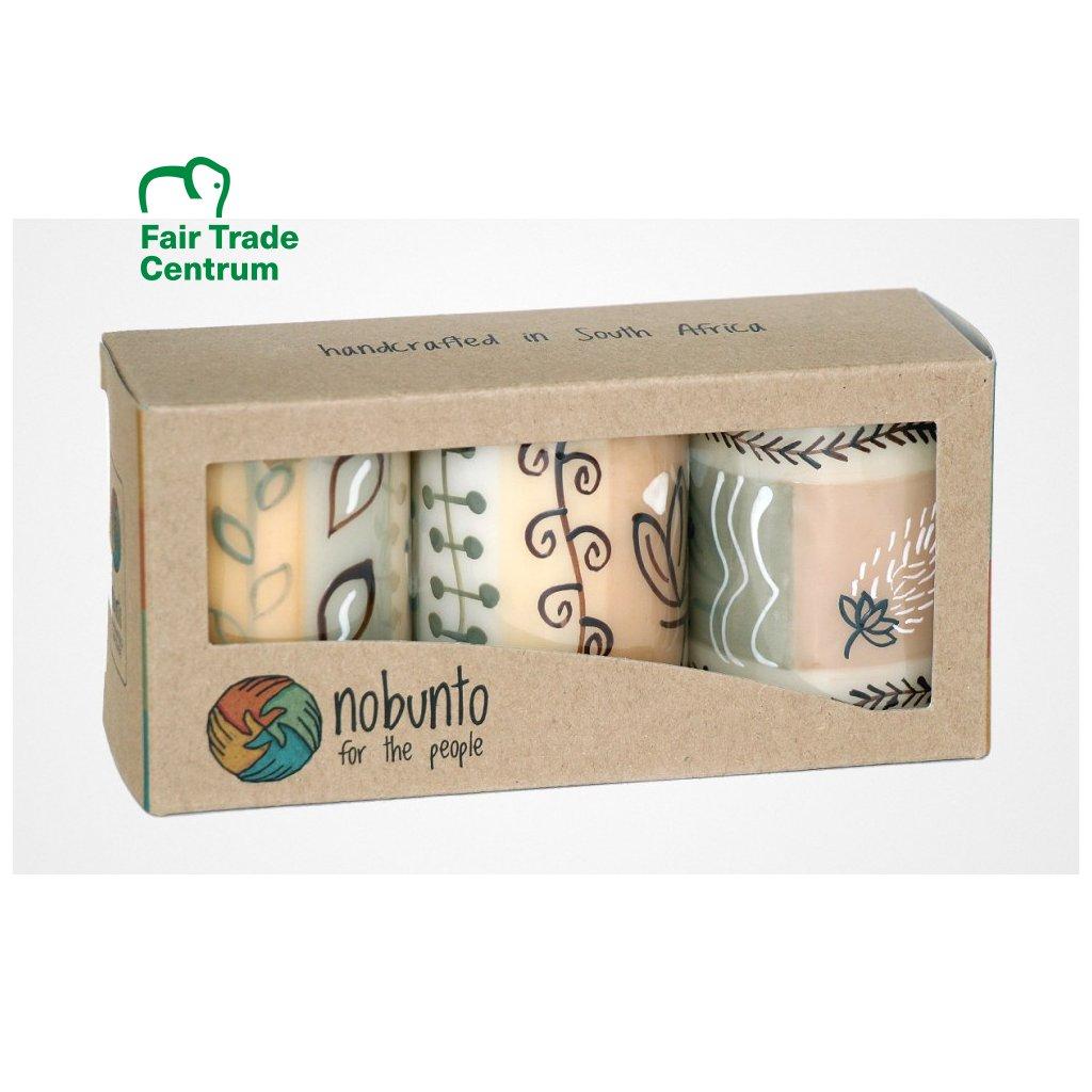 Nobunto fair trade dárková sada 3 pilířové svíčky Mboga z Jihoafrické republiky, 5 x 7 cm