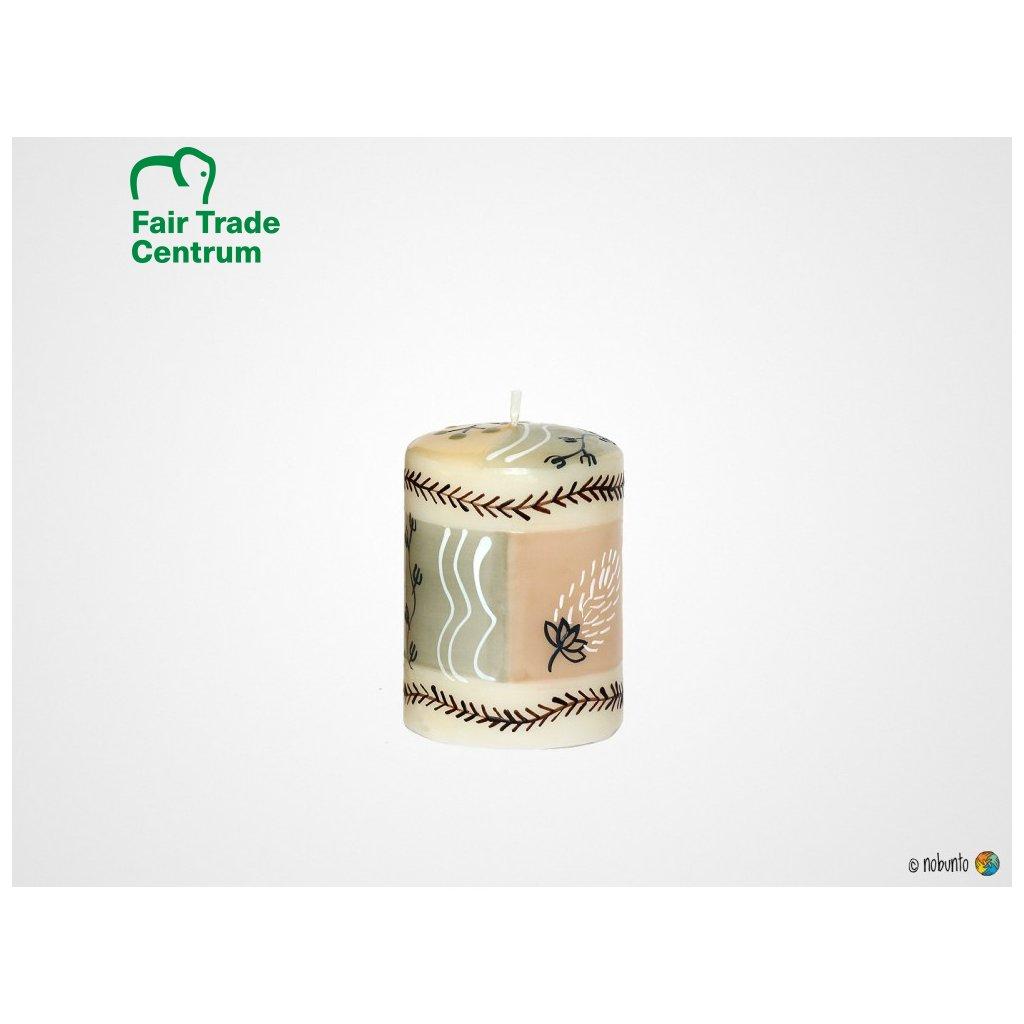 Nobunto fair trade sloupková svíčka Mboga z Jihoafrické republiky, 5 x 7 cm