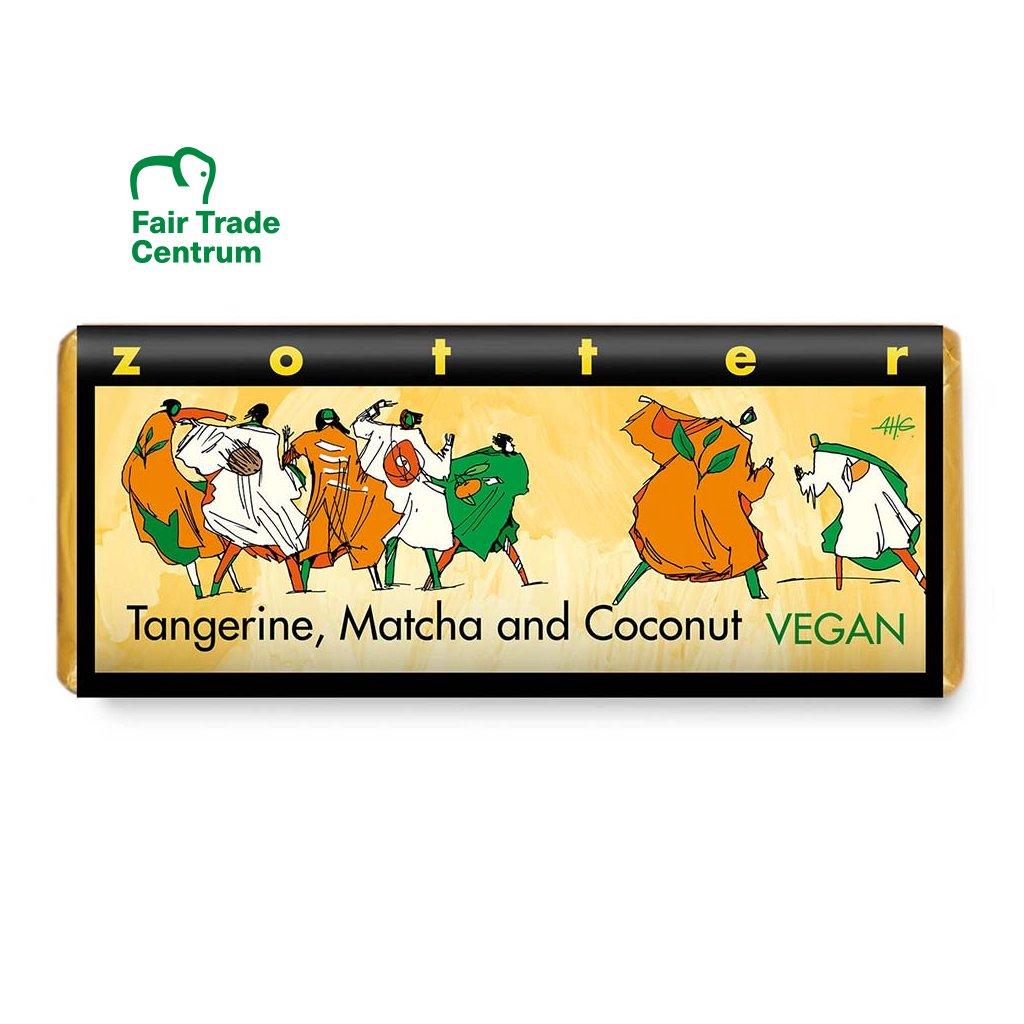 Fair trade bio hořká vegan čokoláda Zotter Mandarinky matcha kokos, 70 g