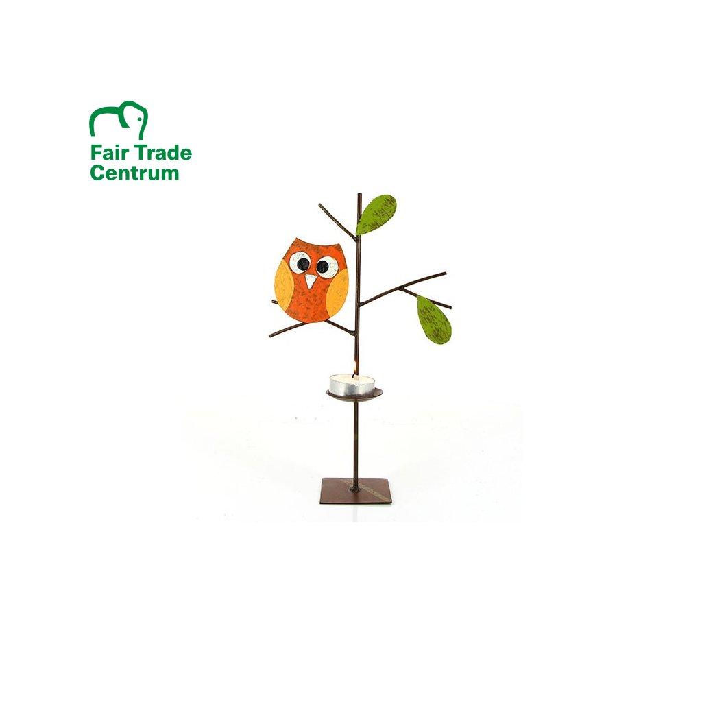 Fair trade kovový svícen Stromek s oranžovou sovičkou z Kolumbie, 26 cm
